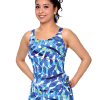 Classic Sarong Swimsuit with 3 button adjustable straps.  Comes in sizes: 8-20 misses & 18W-32W