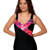 Mock Surplice Swimsuit with 3 button adjustable straps.  Comes in sizes: 4-20 misses.