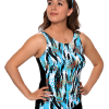 Printed Draped Tanked Swimsuit (no adjustable straps).  Comes in sizes: 4-20 misses.