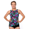 Printed HIGH CUT Draped Tanked Swimsuit (no adjustable straps).  Comes in sizes: 8-20 misses.