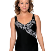 Mock Surplice Swimsuit with 3 button adjustable straps.  Comes in sizes: 4-20 misses