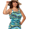 Shirred Girl Leg Swimsuit with 3 button adjustable straps.  Comes in sizes: 8-20 & 18W-32W..